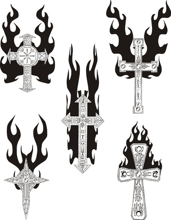 flamed: Crosses with flames. Set of black and white vector illustrations.