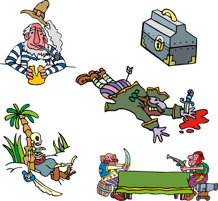 filibuster: Pirate clipart. Set of adventure vector illustrations.