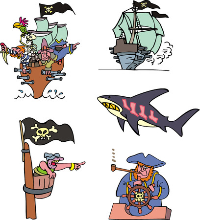 schooner: Pirate ships and sea. Set of adventure vector illustrations. Illustration