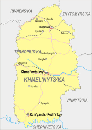 oblast: Map of Khmelnytskyi Oblast with major cities and roads