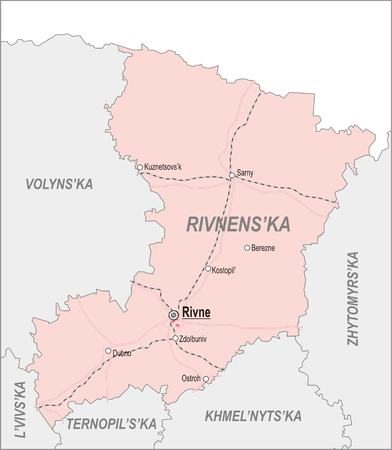 oblast: Map of Rivne Oblast with major cities and roads