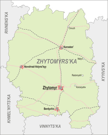 oblast: Map of Zhytomir Oblast with major cities and roads