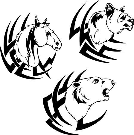 cabe�a de animal: Tatuagens cabe Ilustra��o