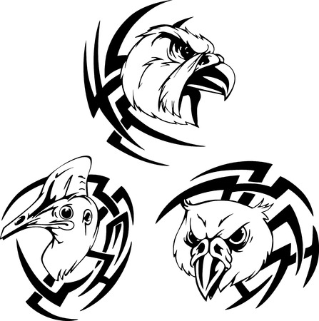 Bird head tattoo. Black and white vector illustrations. Vector