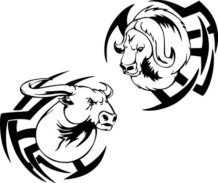 Buffalo head tattoo. Black and white vector illustrations. Vector