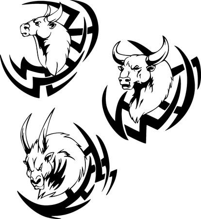 Bull head tattoo. Black and white vector illustrations. Vector