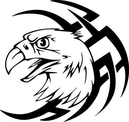 Predator eagle head tattoo. Black and white vector illustrations.