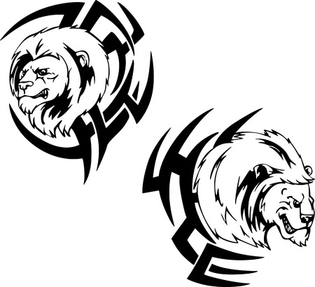 Predator lion head tattoos. Set of black and white vector illustrations. Vector