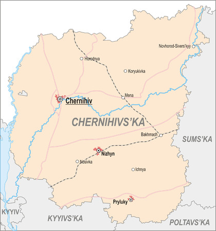 oblast: Map of Chernihiv Oblast with major cities and roads Illustration