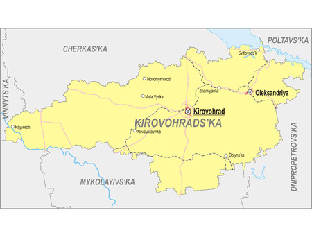 oblast: Map of Kirovohrad Oblast with major cities and roads