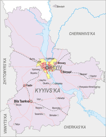 oblast: Map of Kiev Oblast with major cities and roads, including city of Kiev Illustration