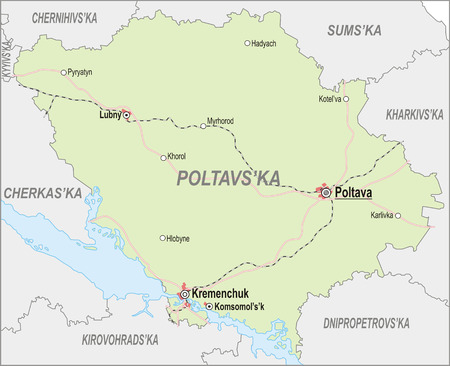 oblast: Map of Poltava Oblast with major cities and roads