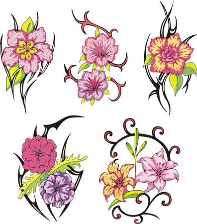 Set of miscellaneous tribal rose flower tattoos. Vector illustrations. Vector
