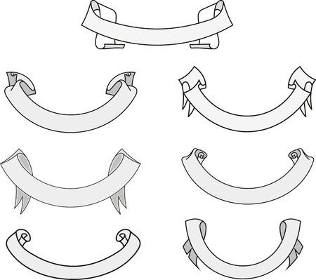 Set of miscellaneous heraldic motto ribbons. Vector illustrations.