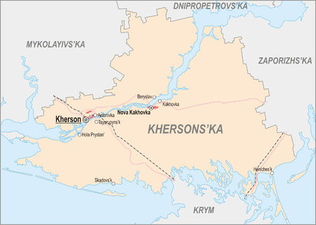 oblast: Map of Kherson Oblast with major cities and roads