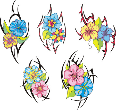 gracious: Set of miscellaneous tribal rose flower tattoos. Vector illustrations.