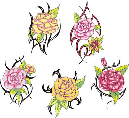 gracious: Set of tribal rose flower tattoos. Vector illustrations.