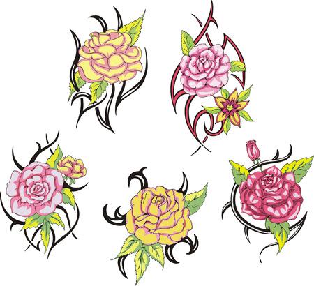 Set of tribal rose flower tattoos. Vector illustrations.