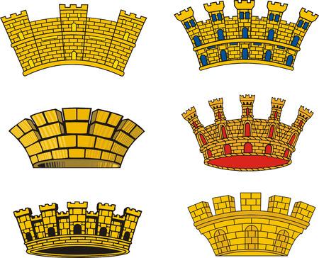 mural: Vector set of heraldic European urban mural crowns