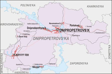 oblast: Map of Dnipropetrovsk Oblast with major cities and roads