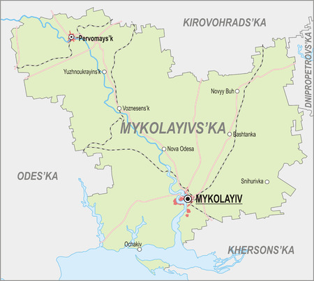 oblast: Map of Mykolaiv Oblast with major cities and roads Illustration