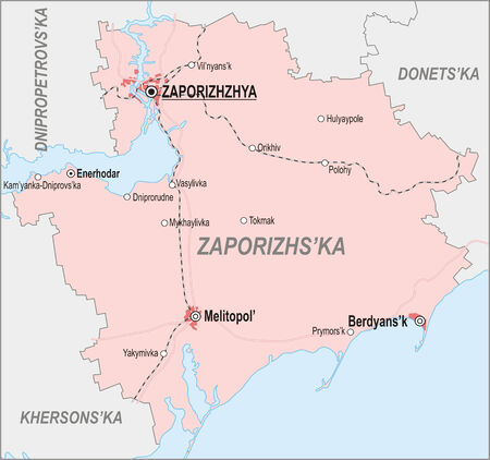 oblast: Map of Zaporizhia Oblast with major cities and roads