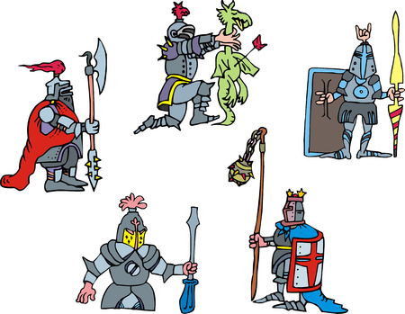 Funny knights. Set of vector illustrations in cartoon style. Vector