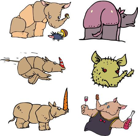 drunkard: Funny rhinos. Set of vector illustrations in cartoon style.