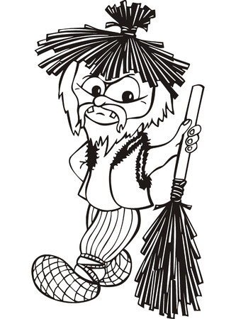 brownie: Old boggard with broom. Black and white vector illustration in cartoon style.