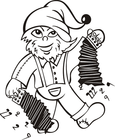 brownie: Boggard with accordion. Black and white vector illustration in cartoon style.