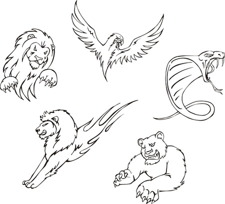 Tattoos - predator animals. Set of black and white vector images. Vector