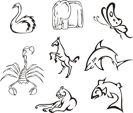 Simple funny animals. Set of black and white vector images. Vector