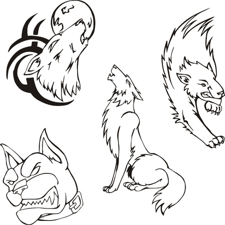 Tattoos - wolves and dog. Set of black and white vector images. Vector