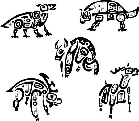 native indian: Dibujos tribales nativos indios Shoshone. Animales. Conjunto de vectores.