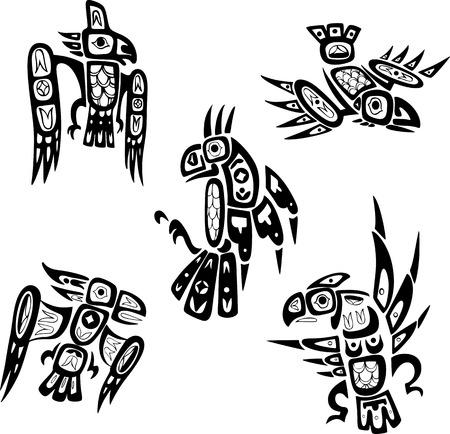 native indian: Dibujos tribales nativos indios Shoshone. Birds. Conjunto de vectores. Vectores