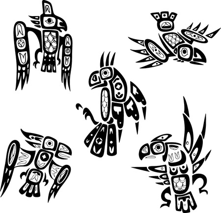 Native indian shoshone tribal drawings. Birds. Vector set.