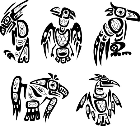 Native indian shoshone tribal drawings. Eagles. Vector set.