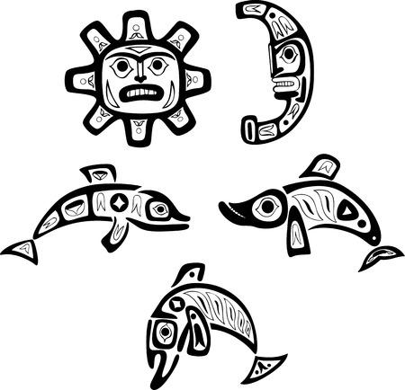 delfini: Indian disegni tribali Shoshone nativi. Pesce, il sole, la luna. Vector set.
