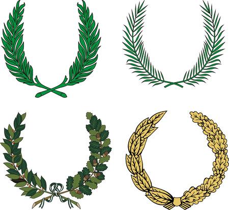 oak wreath: Vector set of four floral heraldic wreaths.