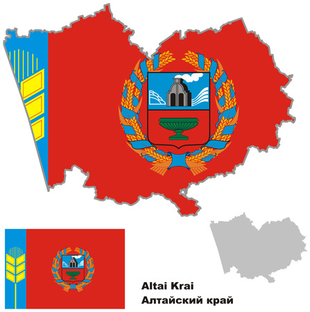 federation: Outline map of Altai krai with flag. Regions of Russia. Vector illustration.