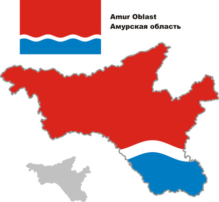 oblast: Outline map of Amur Oblast with flag. Regions of Russia. Vector illustration.