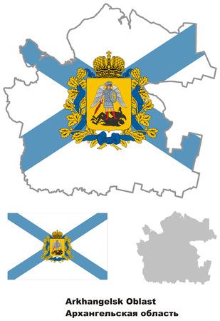 oblast: Outline map of Arkhangelsk Oblast with flag. Regions of Russia. Vector illustration.