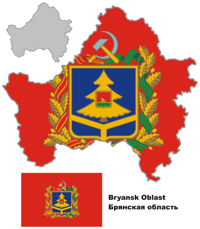 oblast: Outline map of Bryansk Oblast with flag. Regions of Russia. Vector illustration.