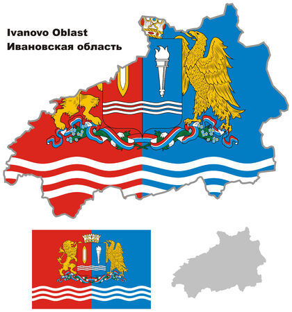 oblast: Outline map of Ivanovo Oblast with flag. Regions of Russia. Vector illustration.