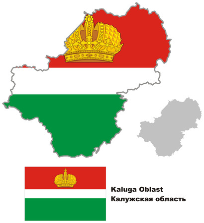 oblast: Outline map of Kaluga Oblast with flag. Regions of Russia. Vector illustration.