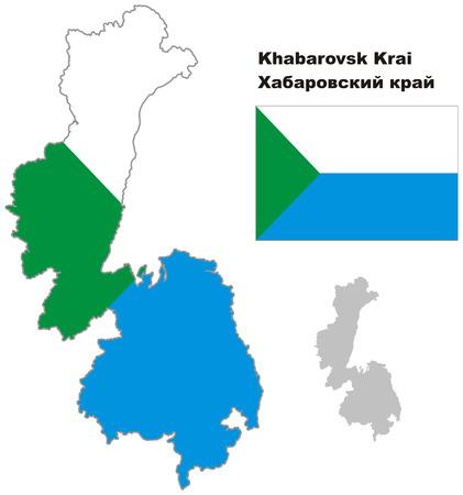 regional: Outline map of Khabarovsk Krai with flag. Regions of Russia. Vector illustration. Illustration