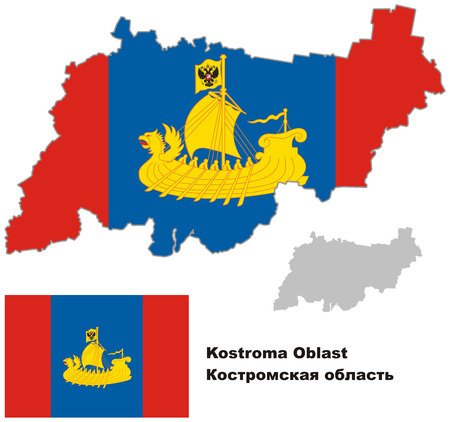 oblast: Outline map of Kostroma Oblast with flag. Regions of Russia. Vector illustration.