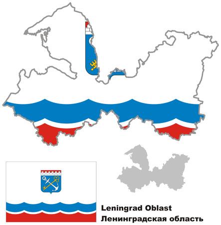 leningradskaya: Outline map of Leningrad Oblast with flag. Regions of Russia. Vector illustration.
