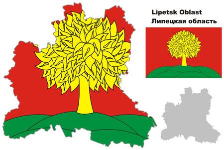 regional: Outline map of Lipetsk Oblast with flag. Regions of Russia. Vector illustration.