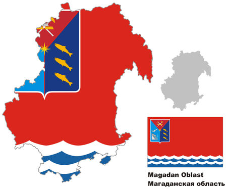oblast: Outline map of Magadan Oblast with flag. Regions of Russia. Vector illustration.
